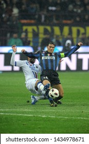 """Milan  Italy, 24 October 2010, """"G.MEAZZA SAN SIRO """" Stadium, Serious Football Championship A 2010/2011,   FC Inter - UC Sampdoria : Javier Zanetti in action  during the match"""