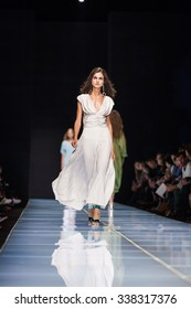 Milan, Italy - 24 September 2015: A model walks the runway during the Anteprima fashion show as part of Milan Fashion Week Spring/Summer 2016