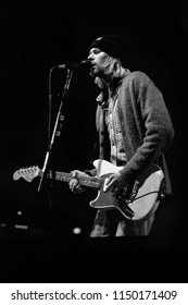 Milan Italy, 25 February 1994,  live concert of Nirvana at the Palatrussardi : The singer and guitarist of Nirvana, Kurt Cobain, during the concert