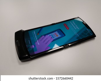 Milan, Italy - 25 November 2019 - Motorola Razr smartphone