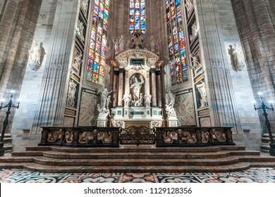 Milan, Italy - 25.06.2018: Interior of the Duomo di Milano (Dome of Milan), Milan, Italy. Metropolitan Cathedral-Basilica of the Nativity of Saint Mary.