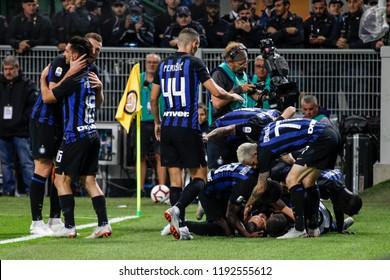 Milan, Italy. 25-09-2018. Campionato Italiano Serie A. Inter vs Fiorentina 2-1. Inter players celebrating goal.