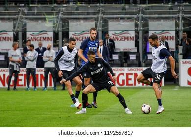 Milan, Italy. 25-09-2018. Campionato Italiano Serie A. Inter vs Fiorentina 2-1. Players Inter during warmup.