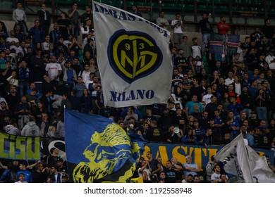 Milan, Italy. 25-09-2018. Campionato Italiano Serie A. Inter vs Fiorentina 2-1. Flags of supporters Inter.