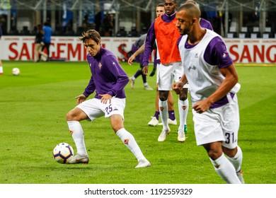 Milan, Italy. 25-09-2018. Campionato Italiano Serie A. Inter vs Fiorentina 2-1. Federico Chiesa, Fiorentina, during warm up.