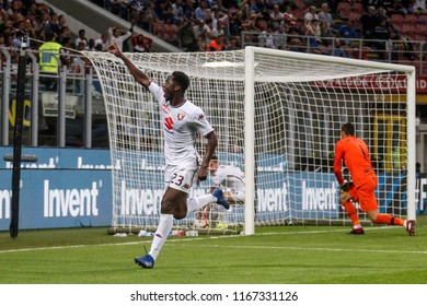 Milan, Italy. 26 August 2018. Campionato Italiano di SerieA, Inter vs Torino 2-2. Soualiho Meite, Torino score the goal of 2-2