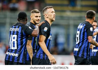Milan, Italy. 26 August 2018. Campionato Italiano di SerieA, Inter vs Torino 2-2. Ivan Perisic, Inter, celebrating the goal.