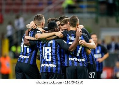 Milan, Italy. 26 August 2018. Campionato Italiano di SerieA, Inter vs Torino 2-2. Ivan Perisic and team mates of Inter, celebrating the goal.