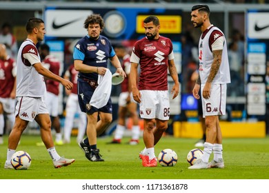 Milan, Italy. 26 August 2018. Campionato Italiano di SerieA, Inter vs Torino 2-2. Players of Torino during warm up.