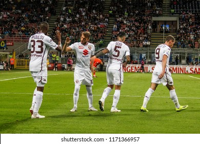 Milan, Italy. 26 August 2018. Campionato Italiano di SerieA, Inter vs Torino 2-2. Andrea Belotti and players of Torino celebrating the goal.