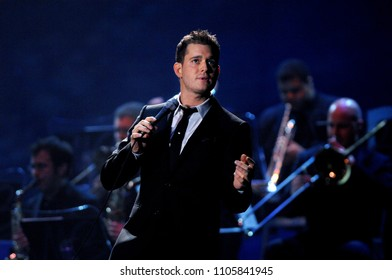 Milan Italy, 26 October 2007, Live concert of Michael Buble at the DatchForum of Assago: The singer Michael Buble during the concert
