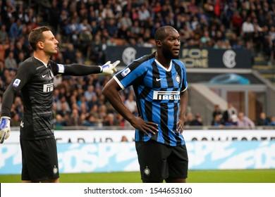 Milan, Italy. 26 October 2019. Campionato Italiano Serie A, Inter vs Parma 2-2. Romelu Lukaku, Inter.