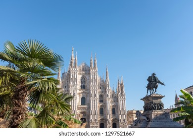MILAN, ITALY - 27 NOVEMBER 2018: Duomo and the monument to Vittorio Emanuele II in the center of Milan