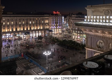 MILAN, ITALY - 27 NOVEMBER 2018: square Duomo in Milan at the evening, view from above.