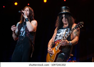 Milan  Italy  28 July 2011,Live concert of Slash at the Arena Civica : Slash and singer Myles Kennedy during the concert