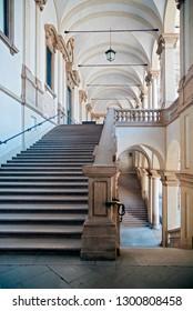 MILAN, ITALY - 28, JULY 2013: Stairs of Pinacoteca di Brera in Milan