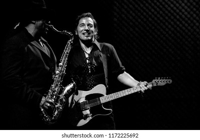 Milan Italy, 28 June 2003,  live concert of Bruce Springsteen & The E-Street Band at the San Siro Stadium: The singer Bruce Springsteen during the concert