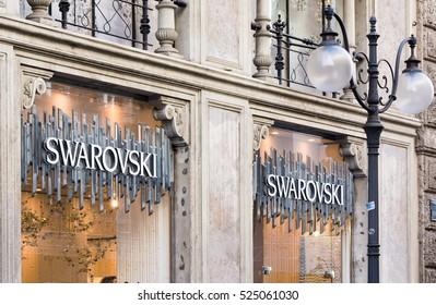 Milan Italy 29 November 2016: Window of a Swarovski store in Milan center.