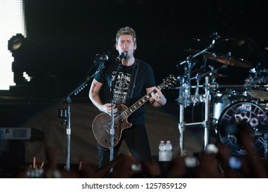 Milan Italy 29 October 2013 ,Nickelback, The Hits Tour, live concert at the Forum of Assago : The guitarist and singer Chad Kroeger during the concert