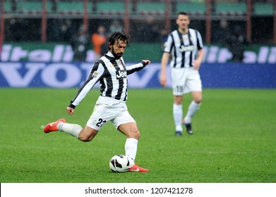 """Milan  Italy, 30 March 2013, """"G.MEAZZA SAN SIRO """" Stadium, Serious Football Championship A 2012/2013, FC Inter - FC Juventus:Andrea Pirlo in action during the match"""
