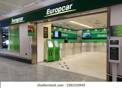 Milan, Italy - 30 OCT 2019: View of Europcar car rental office in Milan Malpensa Airport. Europcar Mobility Group is a French car rental company operates in 140 countries.