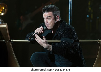 Milan Italy , 31 July 2013,  Live concert of Robbie Williams at the Meazza San Siro Stadium : Robbie Williams during the concert