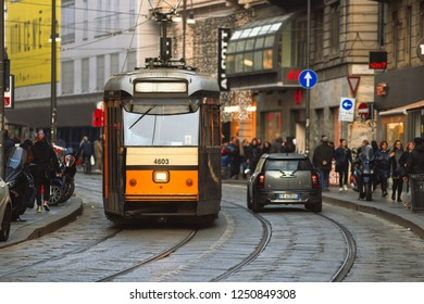 Milan Italy 5 December 2018: Tram passage on rails in Milan in Italy.