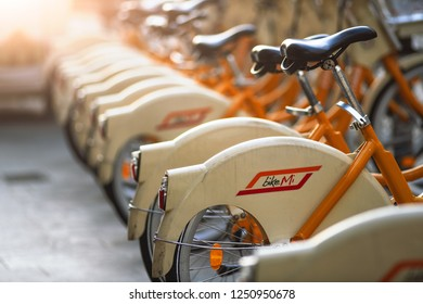 Milan Italy 5 December 2018: Public bicycles of the city of Milan in Italy
