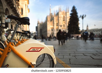 Milan Italy 5 December 2018: Public bicycles in the municipality of Milan. In Duomo square