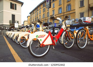 Milan Italy 5 December 2018: Bike sharing in Milan. Bicycles are available for the public.