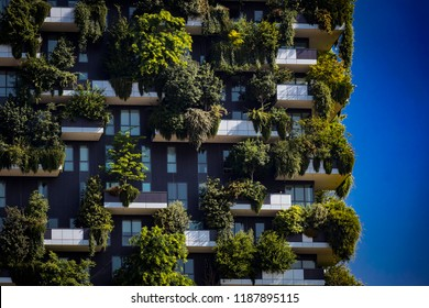 MILAN, ITALY - 6 JUNE 2018: Bosco Verticale.Two modern buildings combined design and ecology in the city center with a forest of 1000 trees.