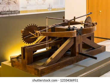 MILAN, ITALY - 6 JUNE 2018: Technological Technical Museum named after Leonardo Da Vinci Department, exposition of the models of devices and technical inventions of Leonardo Da Vinci.