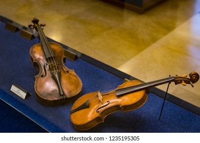 MILAN, ITALY - 6 JUNE 2018 : Exhibition of musical instruments of Milan is exhibited in the Sforza Castle Museum.