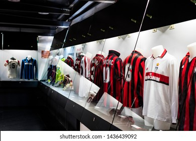 MILAN, ITALY - 6 JUNE 2018: The museum is famous for players of football clubs Inter Milan and Milan T-shirts at the San Siro stadium.