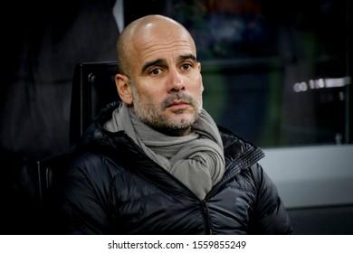 Milan, Italy. 6 November 2019. UEFA Champions League, Atalanta vs Manchester City 1-1. Pep Guardiola, coach Manchester City.