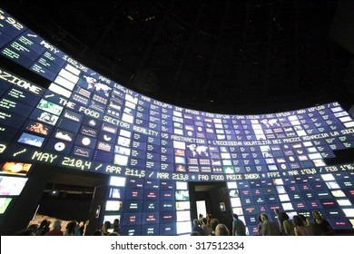 Milan, Italy - 8th September, 2015. Expo Milan 2015 Universal Exposition. Big monitor in the Zero Pavilion. Stock market of food