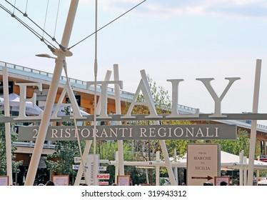 Milan, Italy - 8th September, 2015. International Exposition EXPO MILANO 2015. Detail of EATALY Pavilion