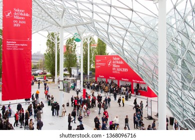 MILAN, ITALY - APR 12, 2019: People at the entrance of Salone del Mobile 2019, the greatest international furniture and accessories exhibition.