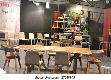 MILAN, ITALY - APR 14: Salone del Mobile, international furnishing accessories exhibition in Milan, Italy- April 14, 2015