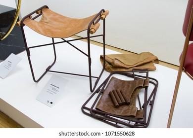 MILAN, ITALY - APR 16, 2018: Rio + Design and Be Brasil Exibition during the week of Milan Furniture Fair 2018.