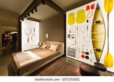 MILAN, ITALY - APR 16, 2018: Achille Castiglioni 100th Exhibition by Zanotta during the week of Milan Furniture Fair 2018.