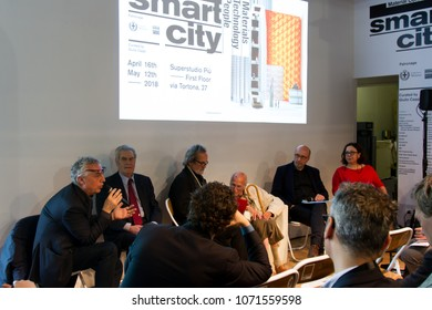 MILAN, ITALY - APR 16, 2018: Presentation Press conference of Smart City exhibition, with Stefano Boeri and Yona Friedman, during the week of Milan Furniture Fair 2018.
