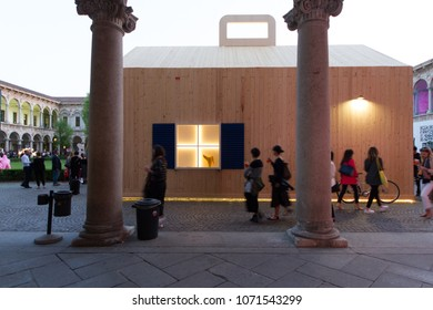 MILAN, ITALY - APR 17, 2018: House in Motion Exhibition at Statale university during the week of Milan Furniture Fair 2018.