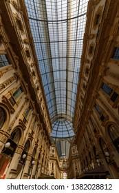 Milan, Italy - Apr 17, 2019: The skylight of Galleria Vittorio Emanuele II in Milan, Italy