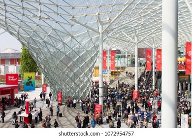 MILAN, ITALY - APR 19, 2018: People at the entrance of Salone del Mobile 2018, the greatest international furniture and accessories exhibition.
