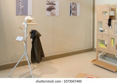 MILAN, ITALY - APR 19, 2018: Products displayed at Salone Satellite during the week of Milan Furniture Fair 2018, designer Me&Meow.