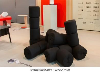 MILAN, ITALY - APR 19, 2018: Products displayed at Salone Satellite during the week of Milan Furniture Fair 2018, designer Ditte Vad.