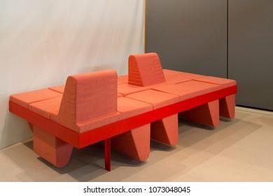 MILAN, ITALY - APR 19, 2018: Products displayed at Salone Satellite during the week of Milan Furniture Fair 2018, designer Sandra K. B. Mikkelsen.