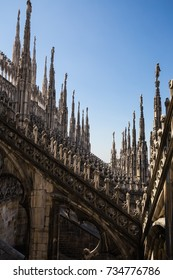 Milan Italy - Apr 2017: Visiting the roof top of Duomo Cathedral with elegant architecture and design