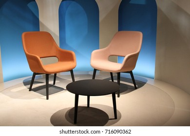 MILAN, ITALY - APR 4, 2017: Products displayed by Pedrali during Salone del Mobile 2017